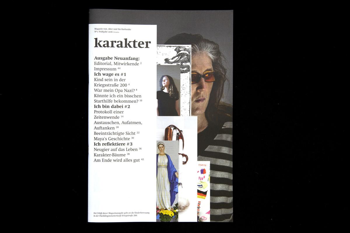 Das Titelblatt der ersten Ausgabe von 'karakter'.