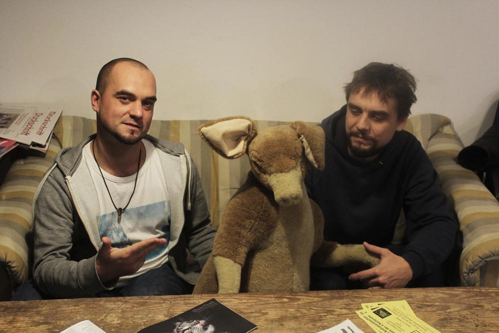 Martin und Thorsten mit Maskottchen Kangoo