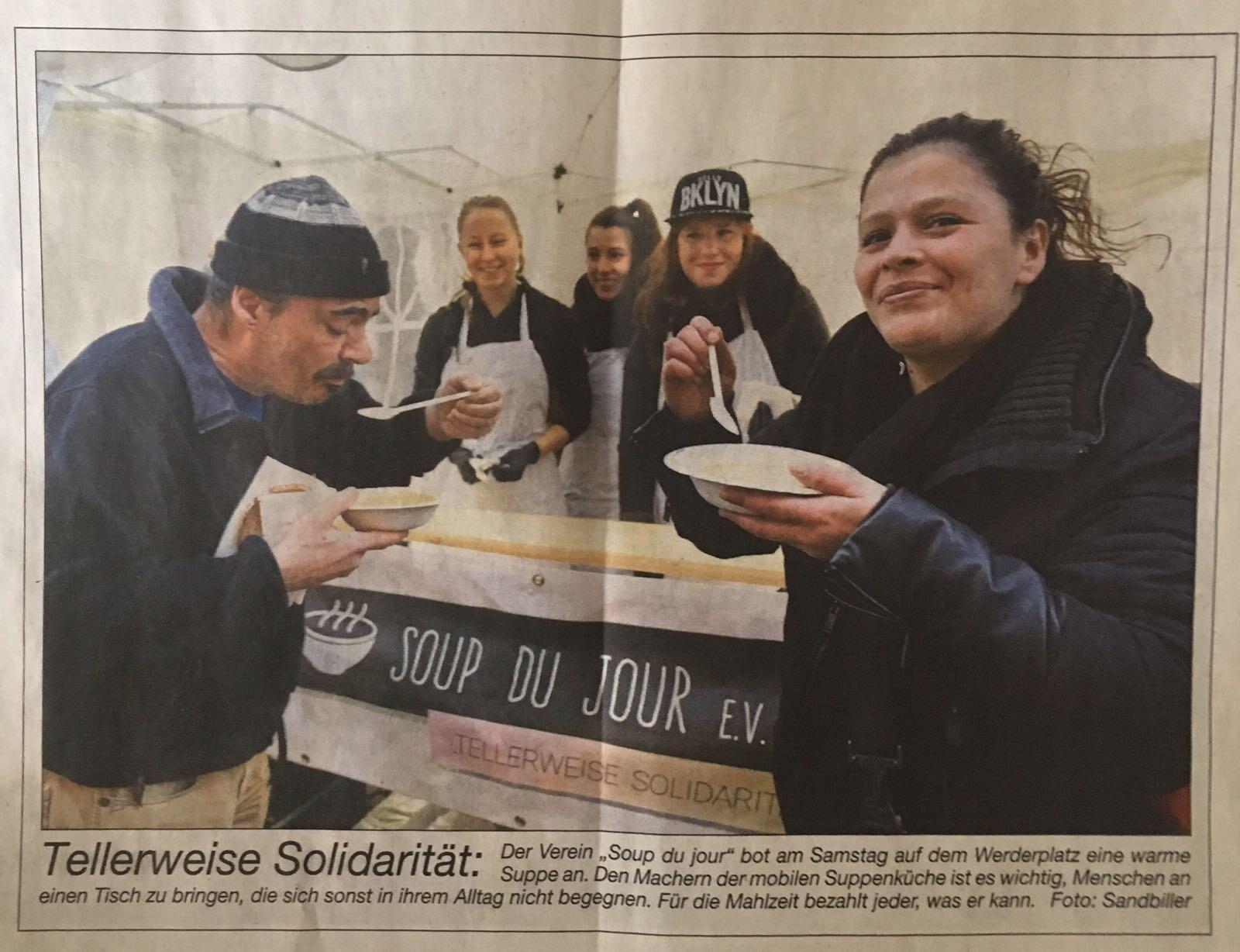 Die BNN berichteten über die Suppenküchen im Dezember und Februar.